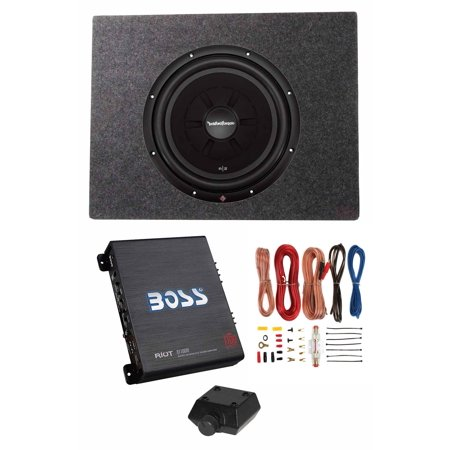 "Rockford Fosgate 12"" 500W Subwoofer + Shallow Enclosure + Amplifier & Wire Kit"