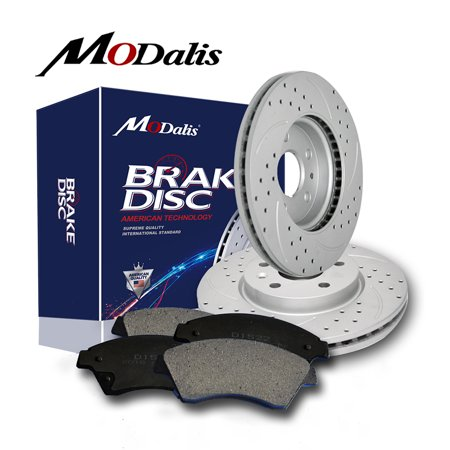Front Kit Drilled And Slotted Brake Rotors &Ceramic Pads For Escalade Silverado (2000 Silverado Front Brakes)