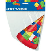 Building Blocks Birthday Party Hats, One Size, 8ct