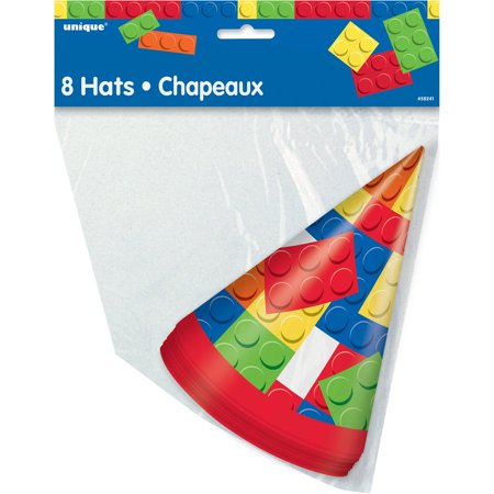 Building Blocks Party Hats, 8ct Stack some birthday flair on top of your little builders' heads with these fun Building Blocks Party Hats. Featuring a colorful pattern of toy bricks, our building-blocks-themed party supplies will help you build your child the perfect building blocks birthday party. These birthday hats can be handed out to guests right before taking pictures or they can be placed on top of our matching party plates to create crafty table settings at your building block-themed party. Build an even bigger brick-themed bash with our matching building blocks party supplies.