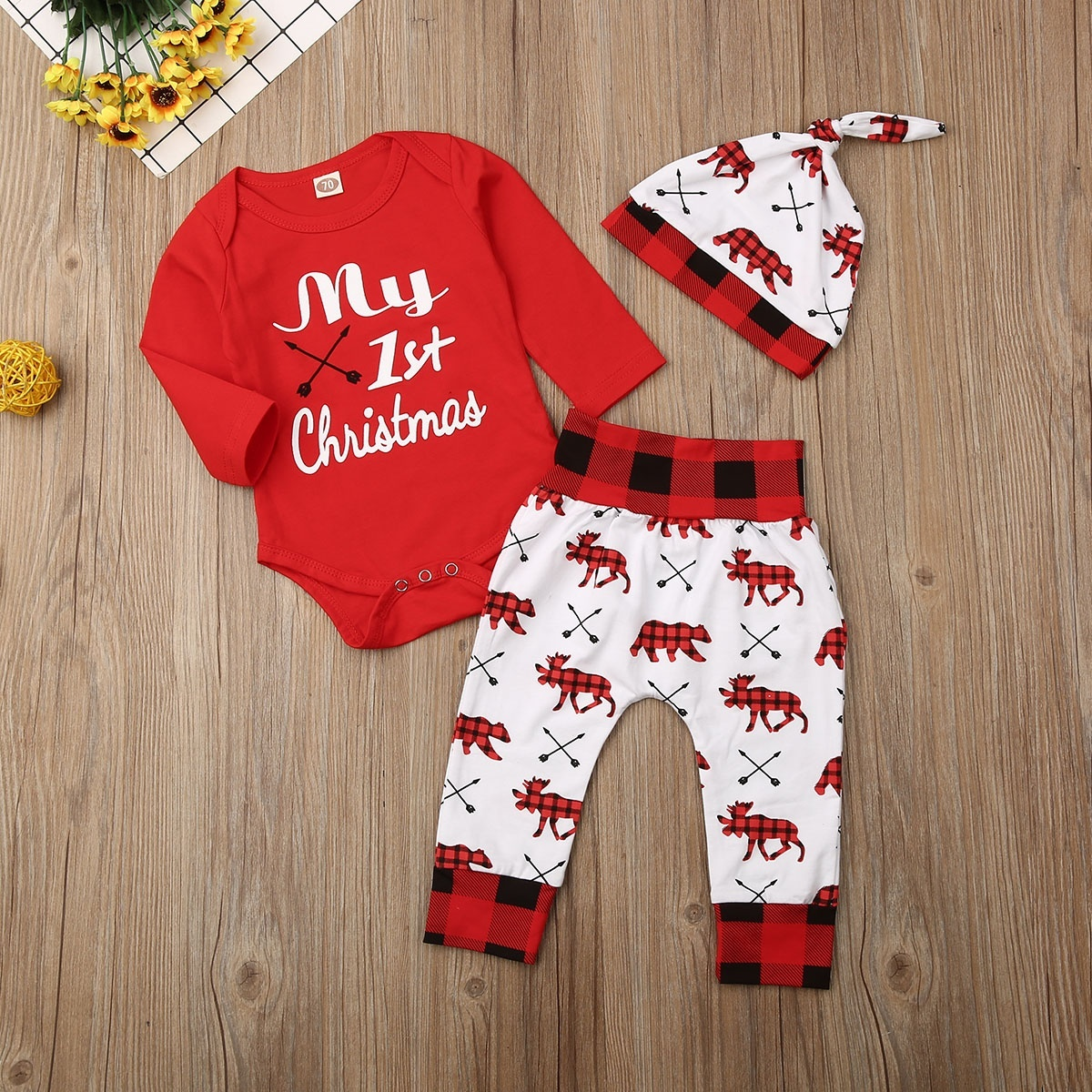 Christmas Baby Girl Boy Outfit Long Sleeve Romper Bodysuit Onesies for Christmaswith Deer Head Print Bodysuit+Pant+Hat 3pc Set