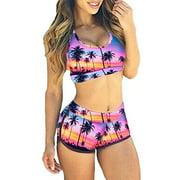 LELINTA Tree Print Tank Sports Bikini Set Boyshort Padded Swimsuit Bathing Suits for Women