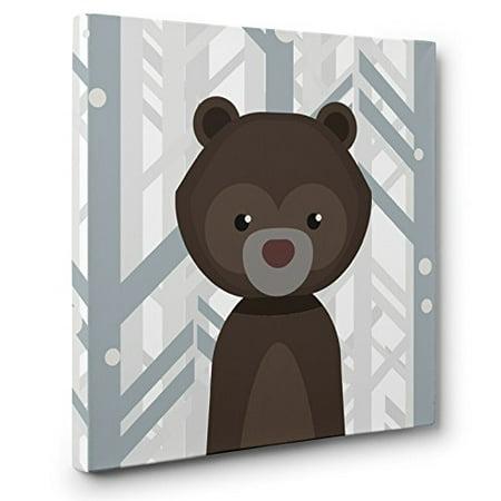 Woodland Creatures Bear Nursery Decor Canvas Wall Art