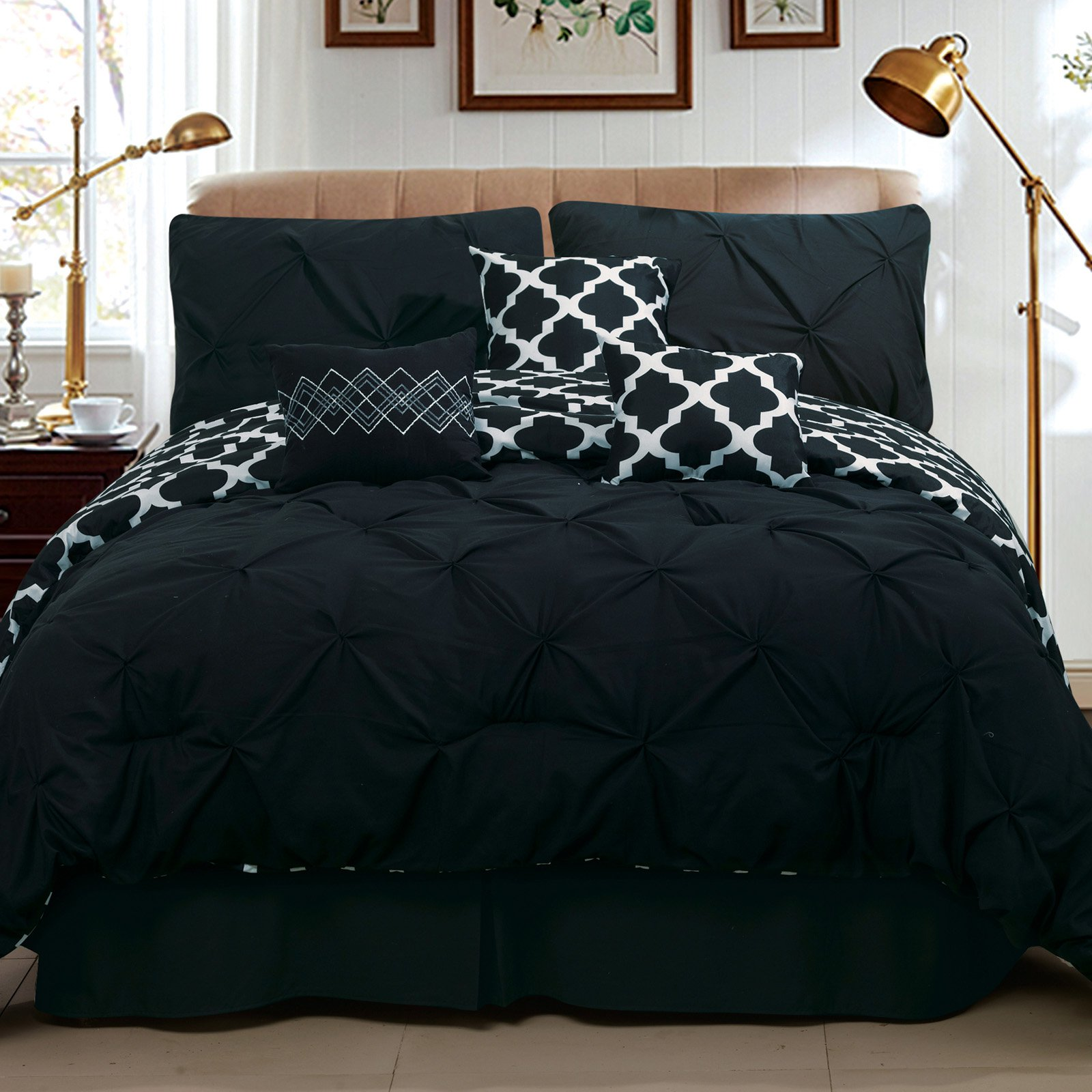 Pinch Pleat Print Reversible Comforter Set by Taylor