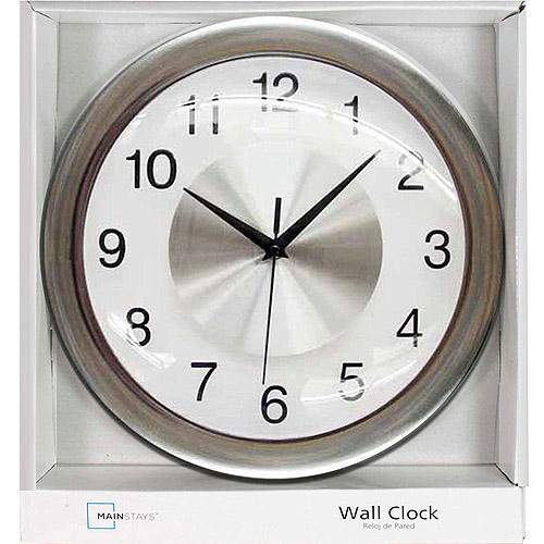 Mainstays Wall Clock, Brushed Chrome by Generic