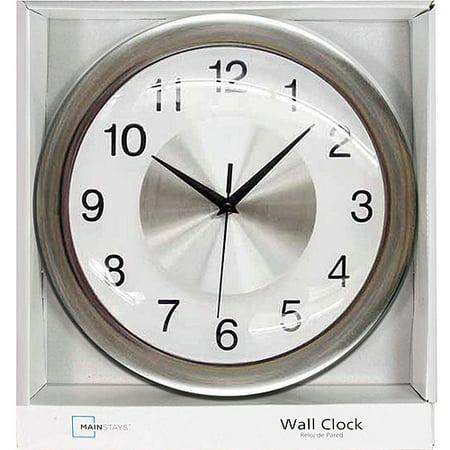 Mainstays Wall Clock Brushed Chrome Walmart Com