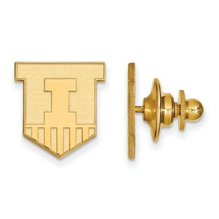 - Solid 14k Yellow Gold University of Illinois Lapel Pin (14mm x 15mm)