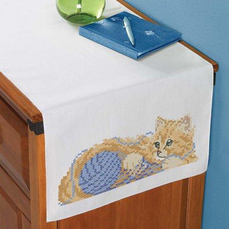 Playful Kitten Dresser Scarf Stamped Cross-Stitch