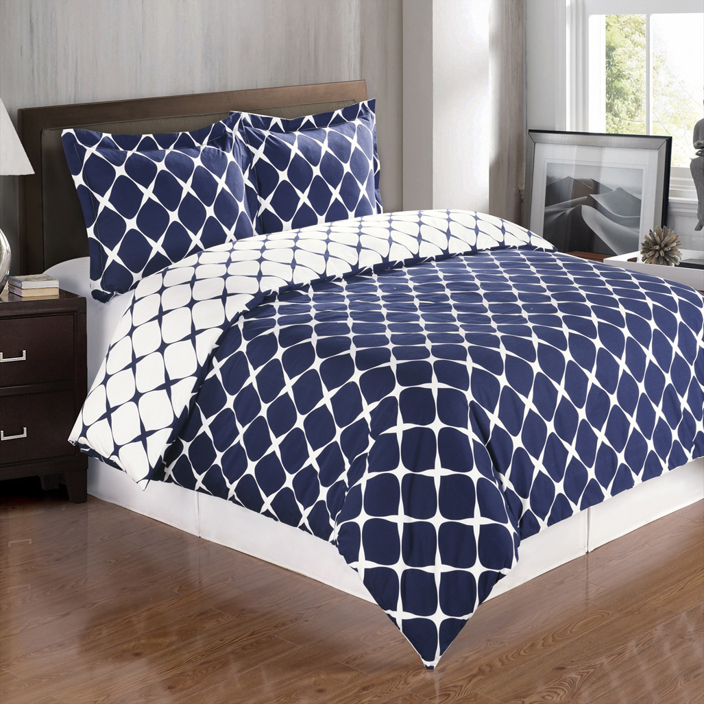 Soft 100 Combed Cotton 3 Piece Duvet Cover Set Full Queen Navy