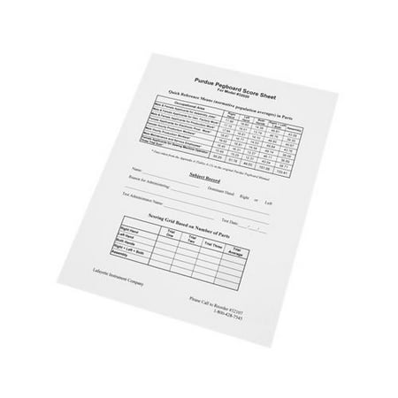 Purdue pegboard replacement scoring forms (25)