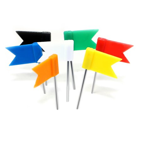 Map Flag Push Pins, Novelty Place Nickle-Plated Steel Tacks with Flags Plastic Head for Travel Map, Cork Board & Bulletin - Assorted Colors (Pack of 50) ()