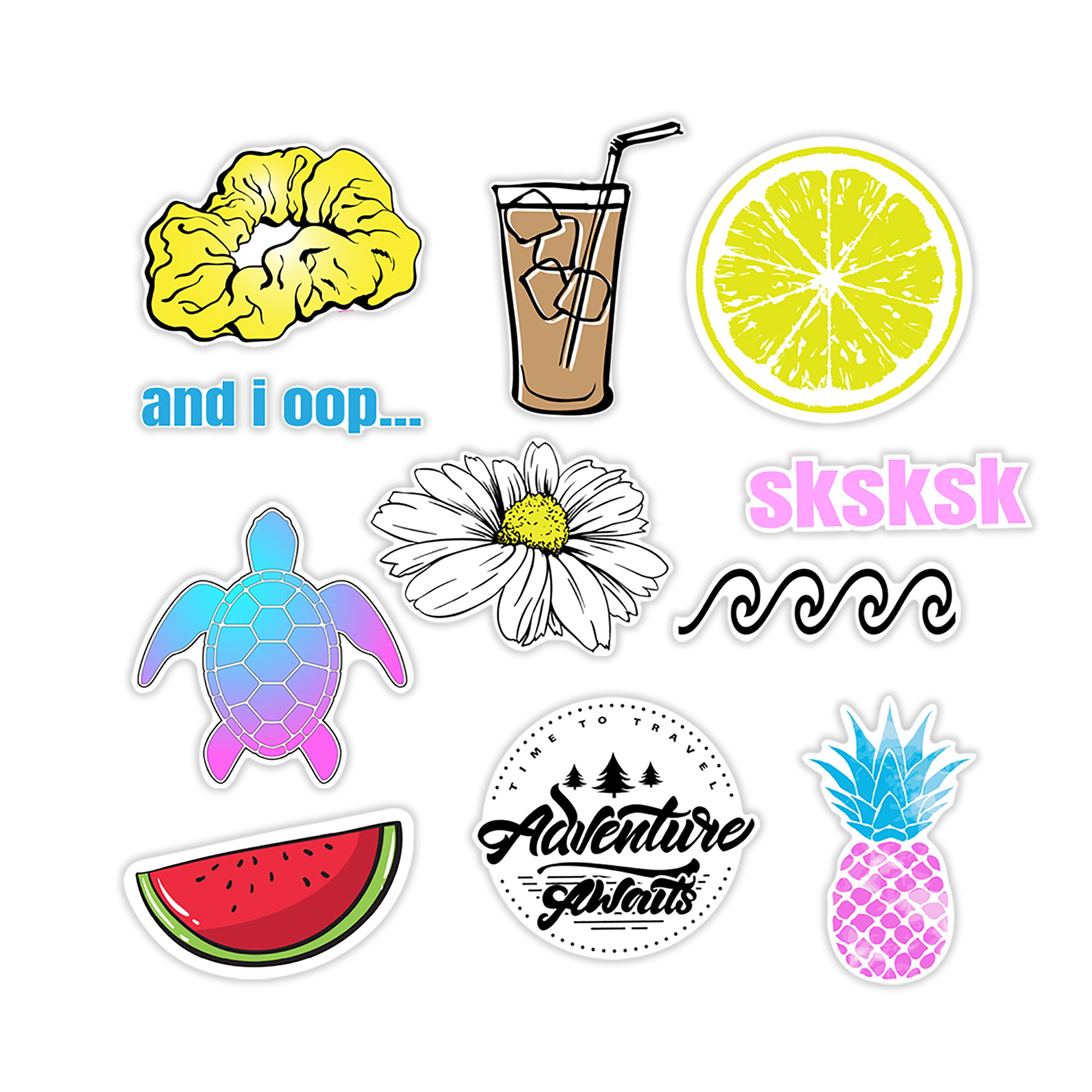 Skateboard Cars Bicycle Laptop Stickers Pack 50 PCS Summer Beach Style Cute Stickers Waterproof and Sun Protection for Laptop Luggage Water Bottle Macbook Cat