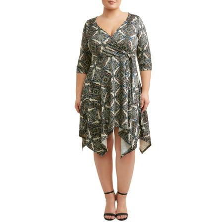 Plus Size Tribal Dress (Women's Plus Size Long Sleeve Cozy Knit Printed Wrap Dress with Hankercheif)