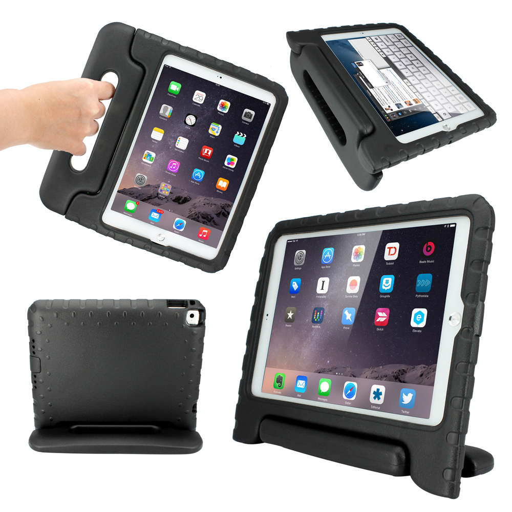Children Safe Kids Friendly Protective Eva Foam Rugged Case Cover Handle Stand Case for Apple iPad Air 2 Gen - Black