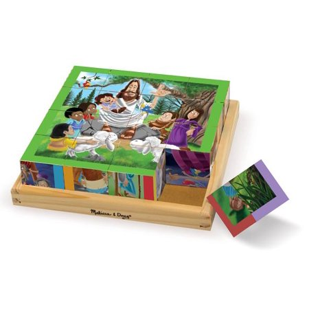 Melissa & Doug New Testament Bible Stories Wooden Cube Puzzle - 6 Puzzles in 1 (16 - Bible Toys