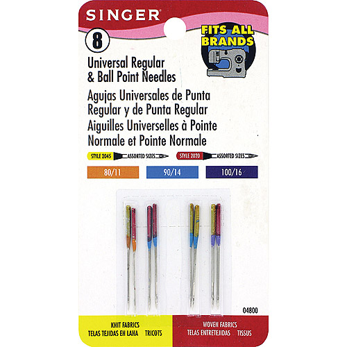 Singer Universal Regular And Ballpoint Machine Needles, 8/Pkg