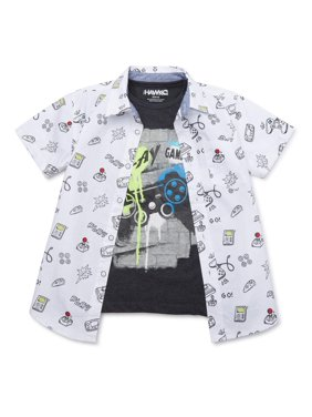 Tony Hawk Boys 4-16 Printed Shirt & Graphic T-Shirt Bundle, 2-Pack