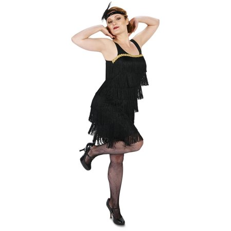 Fancy Black Flapper Women's Adult Halloween Costume (Flapper Costume For Kids)