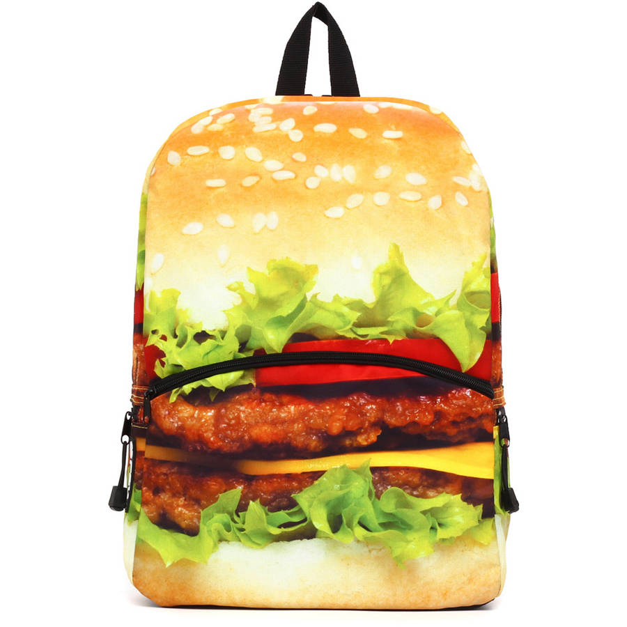 Black Print Burger Backpack