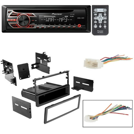 honda 1999 - 2000 civic car stereo dash install mounting kit wire harness  with pioneer deh-150mp cd digital music player receivers - walmart com