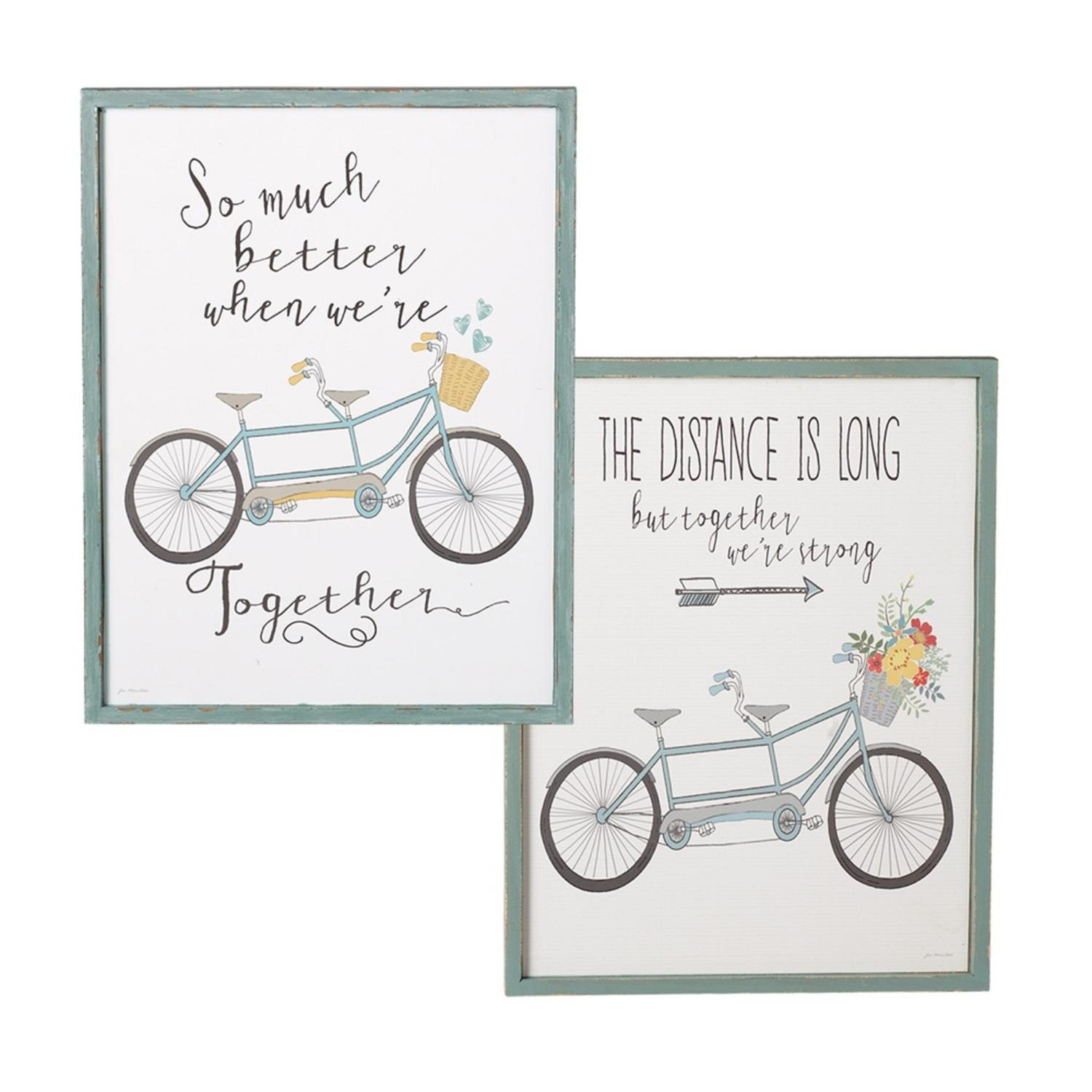Set of 2 White and Turquoise Inspirational Quotes Tandem Bicycle Wall Decor 2 Assorted 17""
