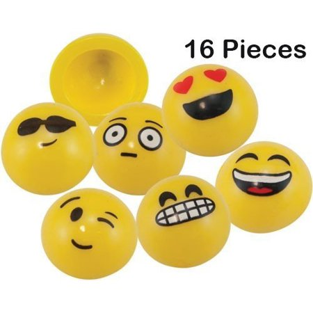 Emoji Pop-up Poppers 1.25 Inches Pack Of 16 Assorted Cool Emoticons - For Kids Boys And Girls Great Party Favors, Bag Stuffers, Fun, Toy, Gift, Prize, Piñata Fillers - By Kidsco - Birthday Poppers