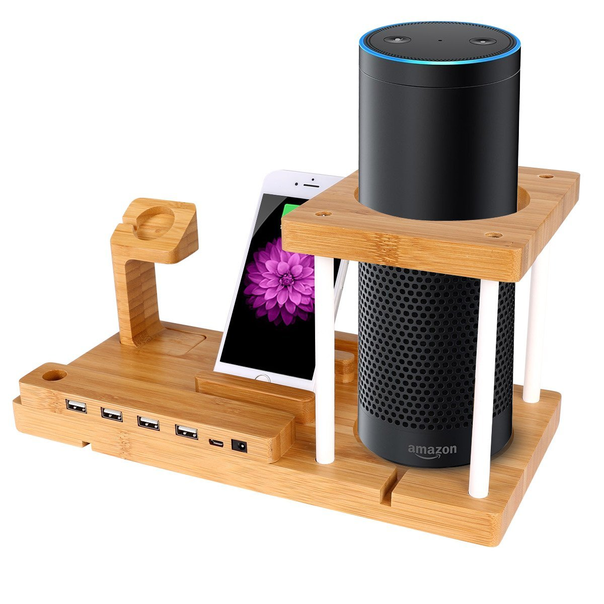 Bamboo Speaker Mounts for Amazon Echo ,Bamboo charging station UE Boom and Charging station with 4-Port USB Charger Cell Phone & Smart Watch Accessories Cell Phone Speaker Mounts