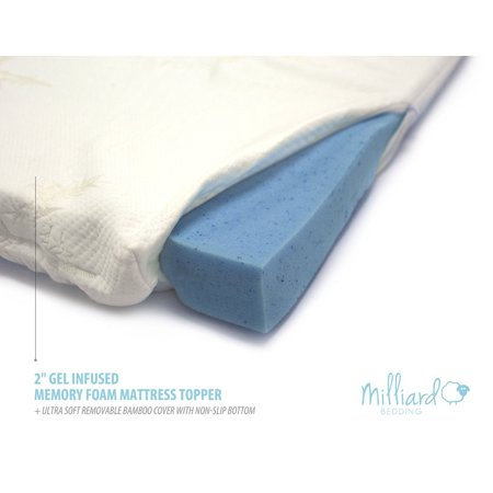 Milliard 2-Inch King Gel Infused Memory Foam Mattress Topper with Ultra Soft Removable, Washable Cover and Non-Slip Bottom