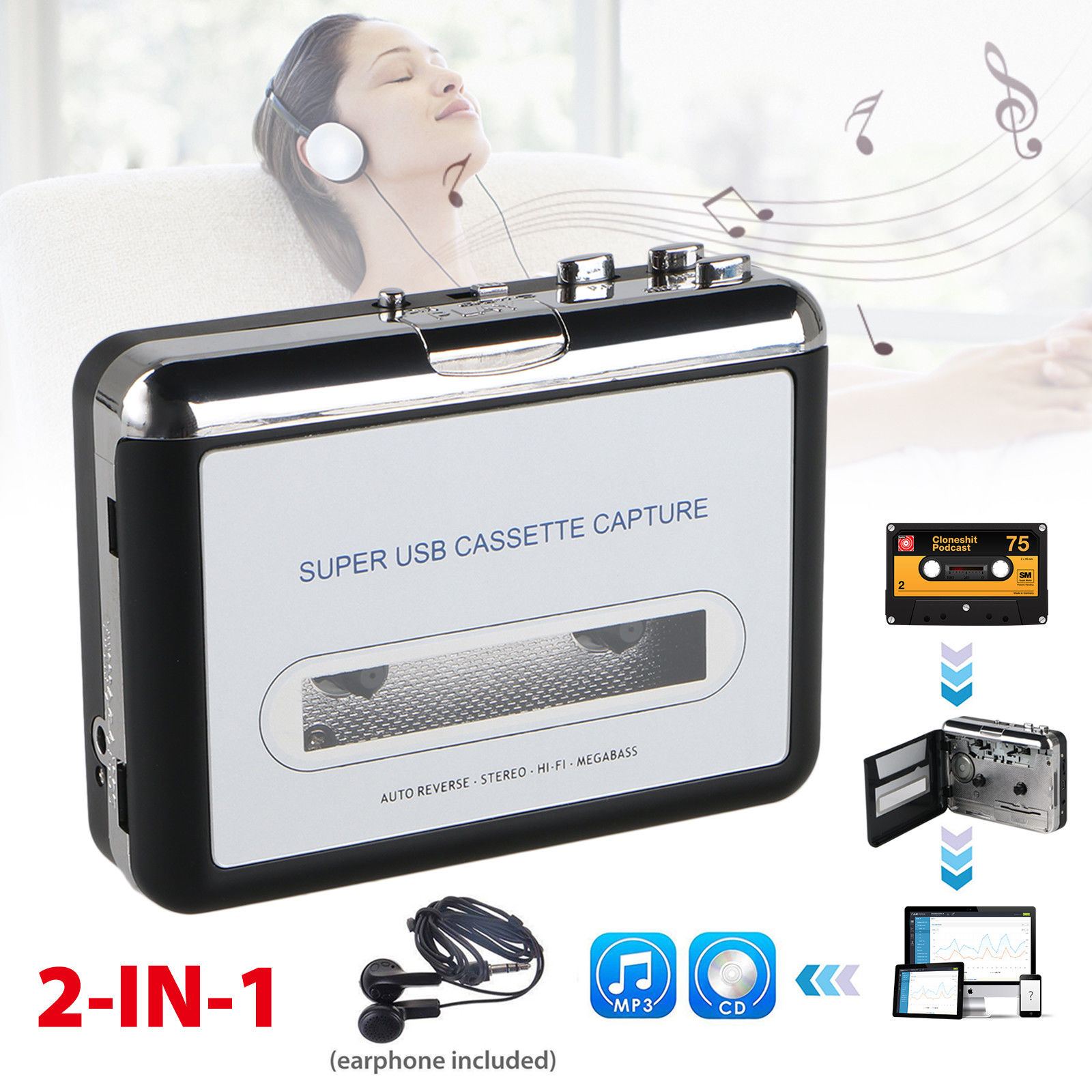 EEEkit Cassette Tape to MP3 CD Converter via USB, Portable Cassette Player Convert Cassette Tape to Digital MP3, Compatible with Laptop, Mac and PC, with Earphones