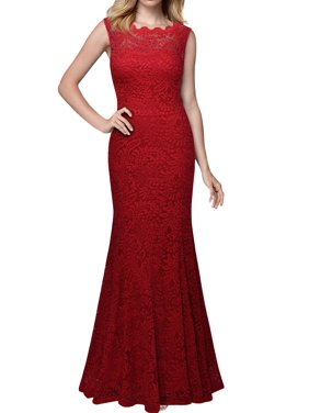 e3f4b3e75c Product Image MIUSOL Women s 1920 S Retro Floral Lace Sleeveless Halter  Bridesmaid Long Dresses for Women (Burgundy L