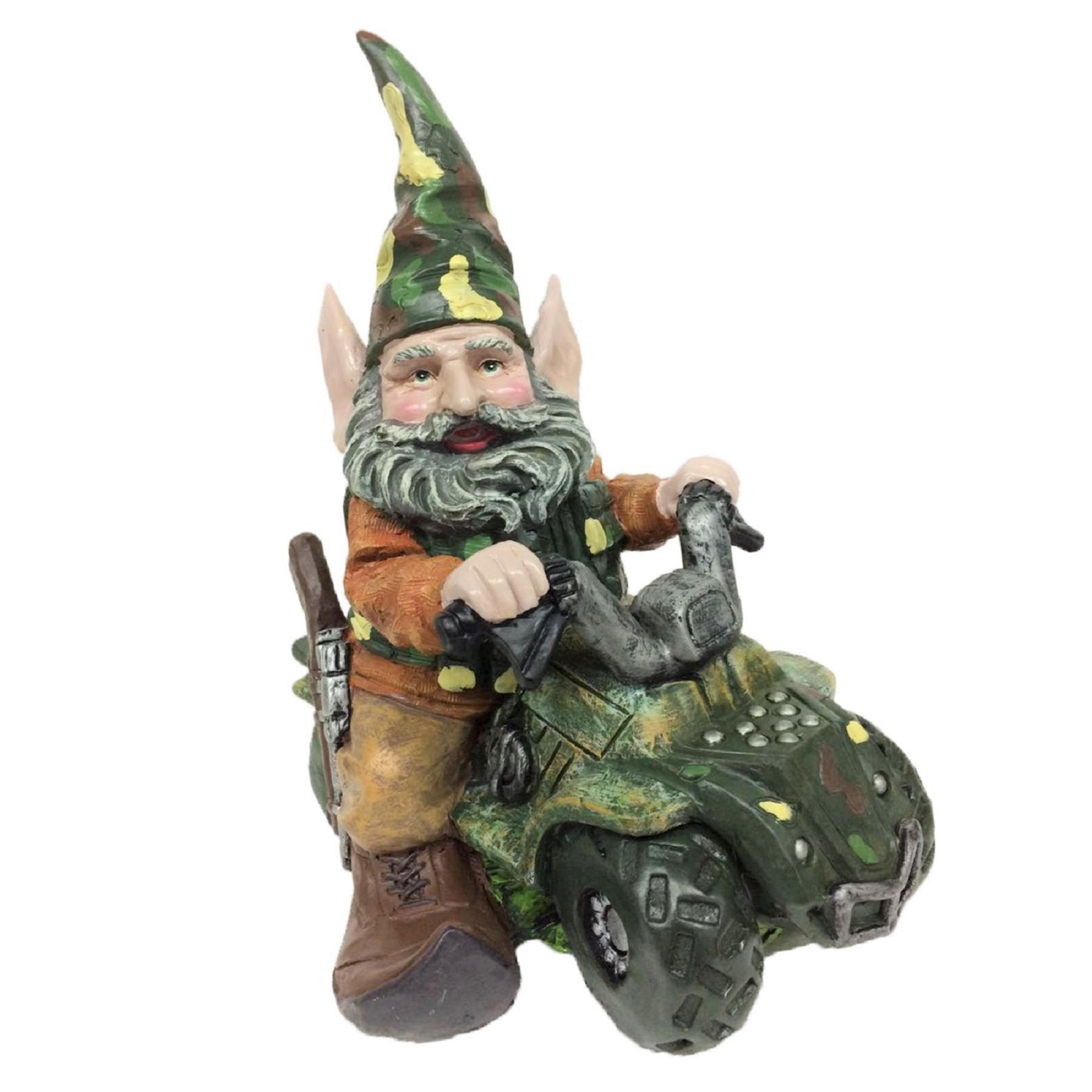 "Homestyles ""Hunter the Gnome"" Garden Gnome Hunter Riding His Customized ATV in Camouflage Large... by GSI Homestyles"