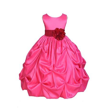 Ekidsbridal Taffeta Bubble Pick-up Fuchsia Pink Flower Girl Dress Weddings Summer Easter Dress Special