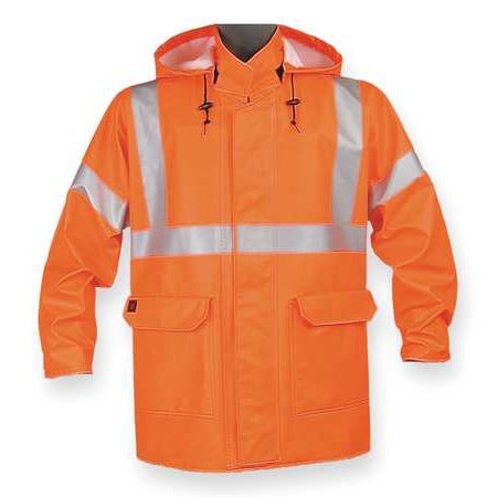 Arc Flash Personal Protective Equipment - Nasco Arc Flash Rain Jacket with Hood, Orange, Flame Resistant, 4XL, 4503JFO4