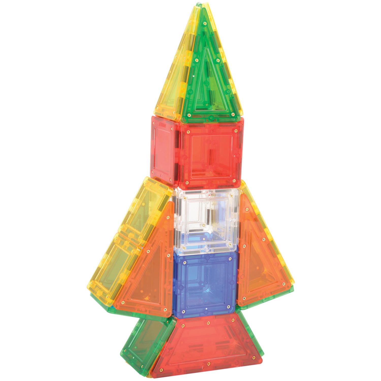 MagWorld Toys Rainbow 3D Magnetic Building Tiles 60 Piece