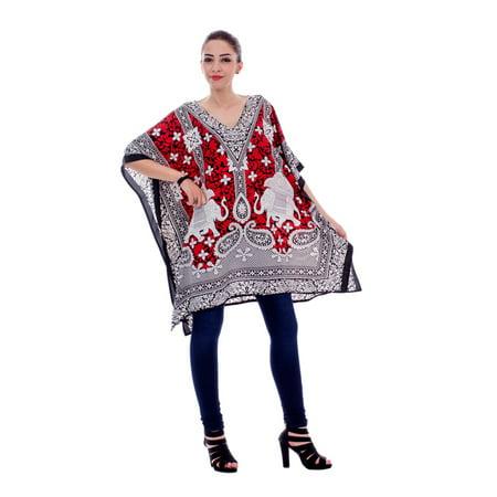 Red Short Kaftan Dresses For Women Elephant Print Tunic Top Beach