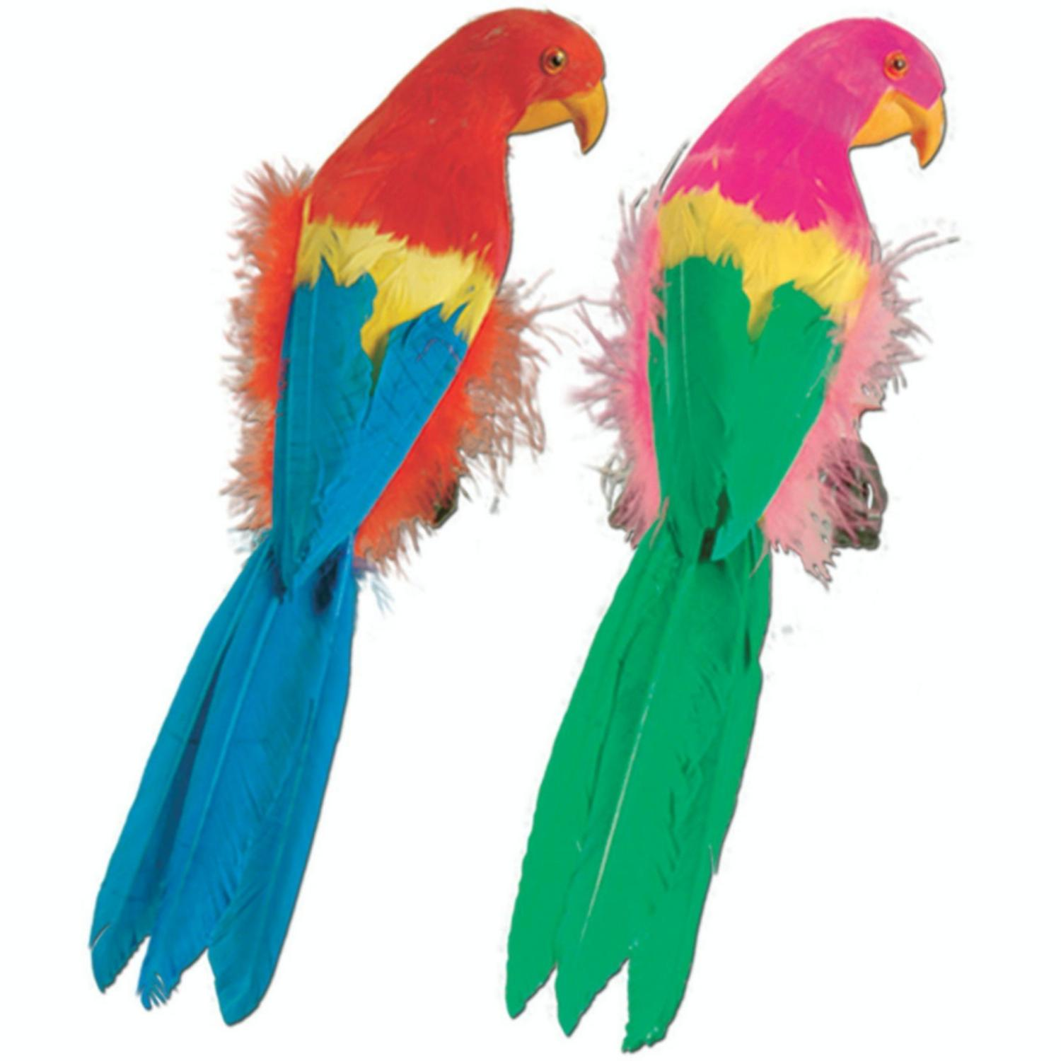 Pack of 6 Vibrant Brightly Colored Feathered Parrot Luau Party Decorations 12""