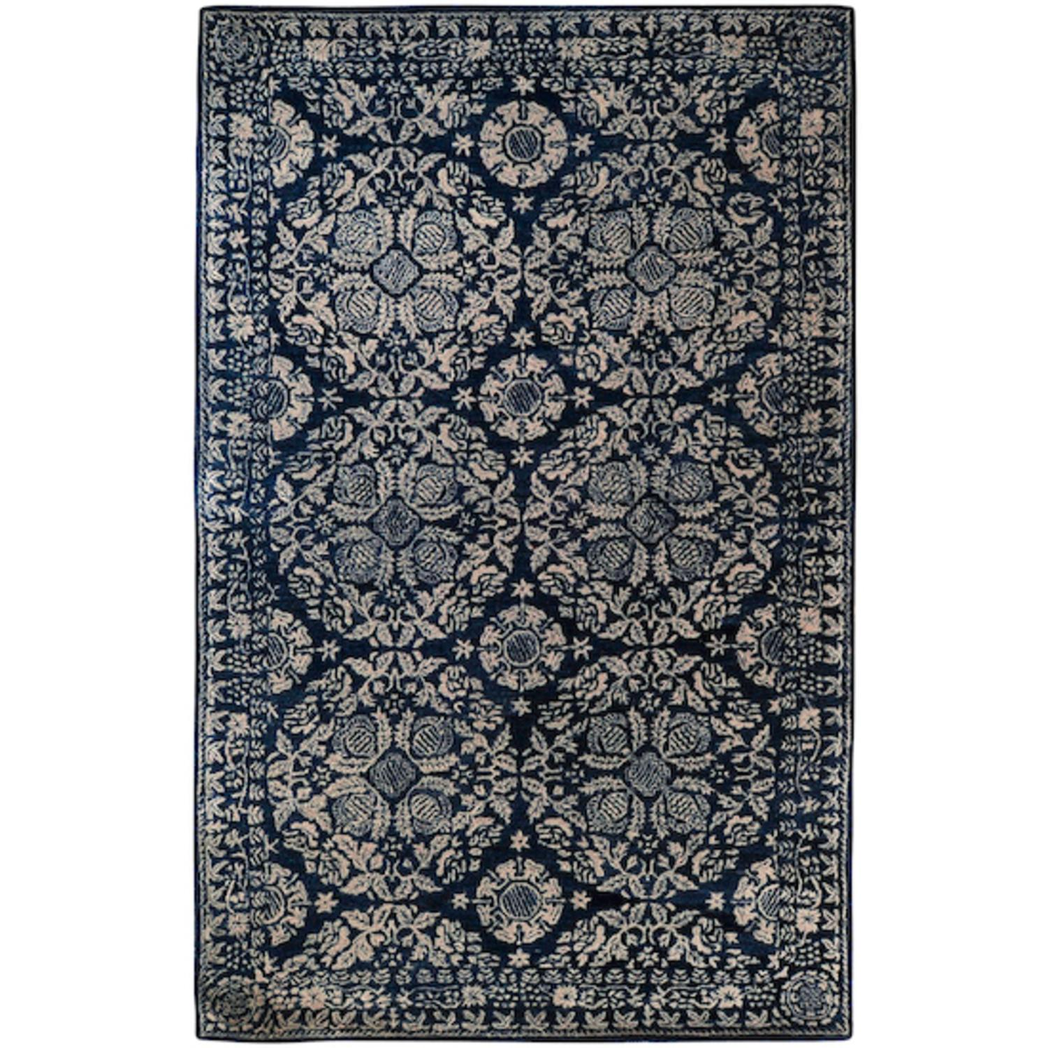 2' x 3' Royal Circle Dark Slate Blue and Parchment Wool Area Throw Rug