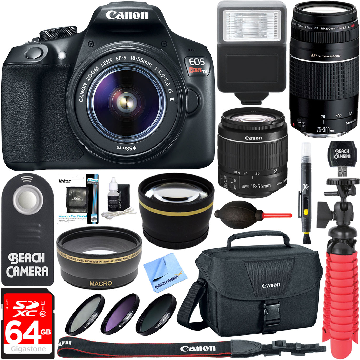Canon T6 EOS Rebel DSLR Camera w/ EF-S 18-55mm & 75-300mm IS II Lens Kit + Accessory Bundle 64GB SDXC Memory + SLR Photo Bag + Wide Angle Lens + 2x Telephoto Lens + Flash + Remote + Tripod & More