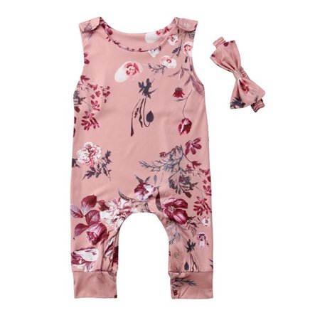 Garden Sleeveless - Styles I Love Infant Baby Girl Garden Floral Sleeveless Pink Romper with Headband 2pcs Casual Summer Outfit (80/6-12 Months)