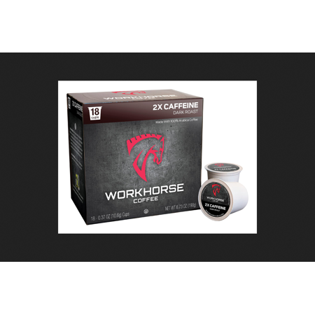 Workhorse Coffee 2x Caffeine Dark Roast Coffee K Cups 18