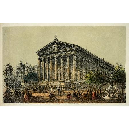 Gravure  Paris En 1874  Eglise De La Madeleine  Coll Canvas Art     24 X 18