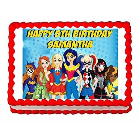 Superhero Girls Party Edible Frosting Cake Topper