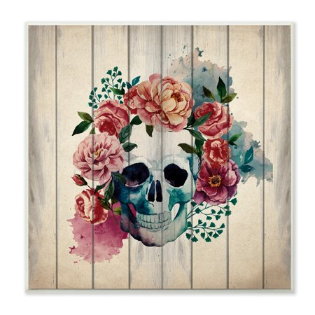 The Stupell Home Decor Collection Floral Skull Watercolor On Planks Wall Plaque Art, 12 x 0.5 x 12 - Skull Decor