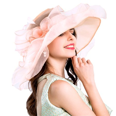 Women Organza Kentucky Derby Fascinator Lady  Tea Party Church Wedding Bridal Flower Hat - Tea Party Hats