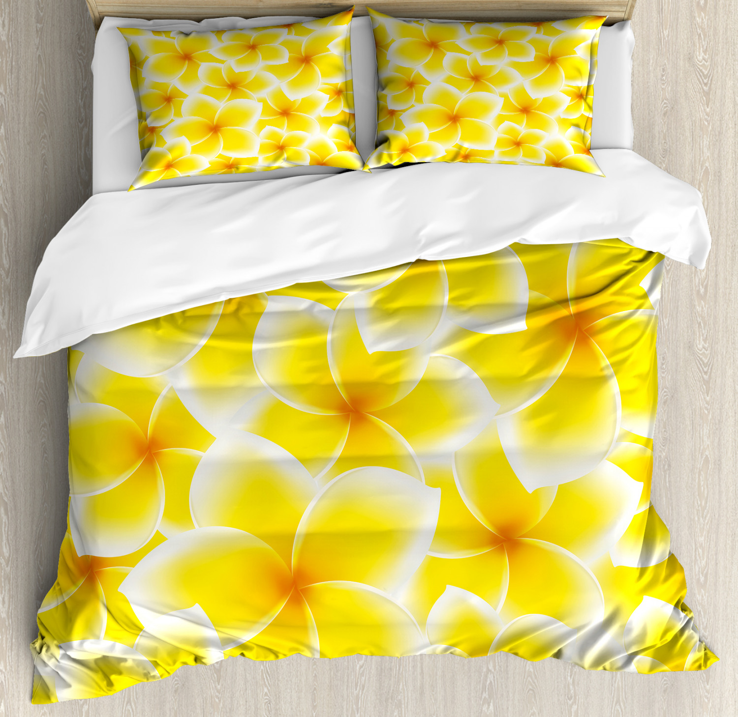 Yellow Duvet Cover Set Plumeria Frangipani Asian Cute Flower Blossom Pattern Hawaiian Style Artwork Decorative Bedding Set With Pillow Shams Yellow And White By Ambesonne Walmart Com Walmart Com