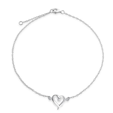Open Love Heart Anklet Ankle Bracelet For Women For Women 925 Sterling Silver Adjustable 9 To 10 Inch