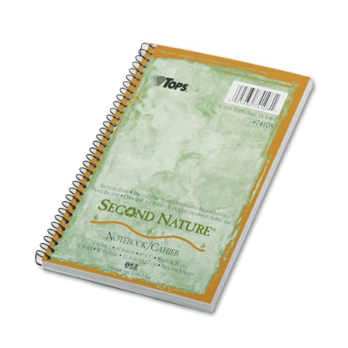 """Tops Second Nature 1-subject Notebook - 80 Sheet - 15lb - Narrow Ruled - 8"""" X 5"""" - 1 Each - White (74108)"""