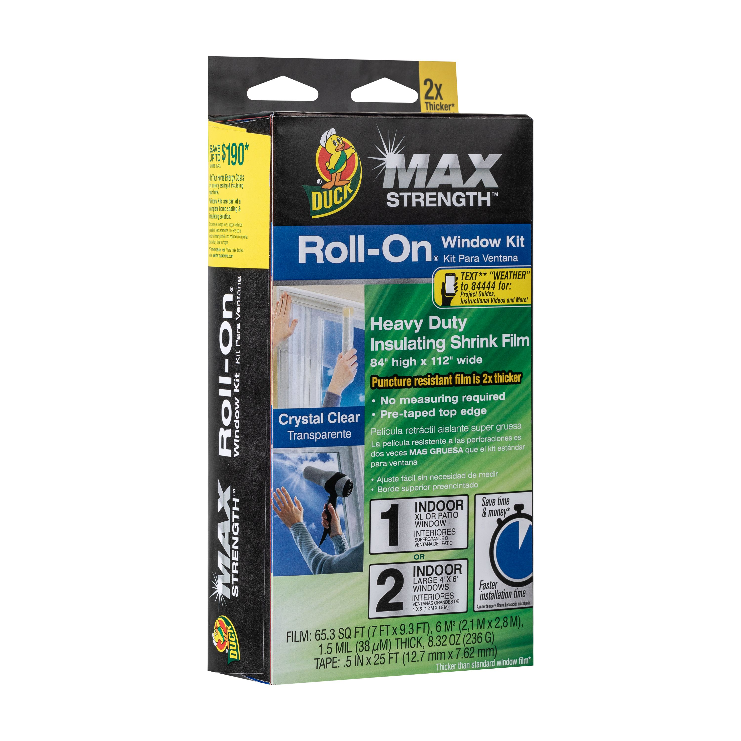Duck Max Strength Roll-On Window Insulation Kits - Indoor, 84 in. x 112 in., XL/ Patio, 1-Count