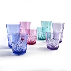 Cupture Diamond Plastic Tumblers, 24 oz | 14 oz, 8-Pack (Assorted Colors)