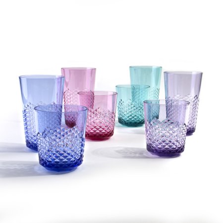 Cupture Diamond Plastic Tumblers, 24 oz / 14 oz, 8-Pack (Assorted Colors)